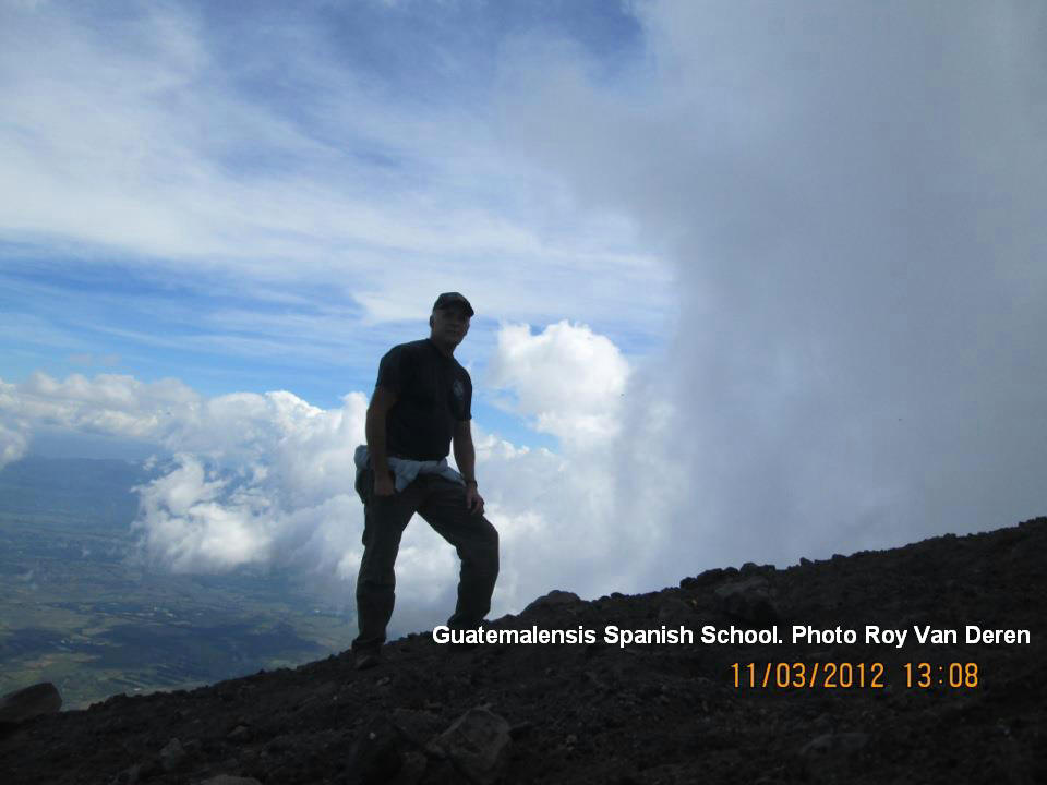 One of our tourists hiking to the summit of the Pacaya volcano.