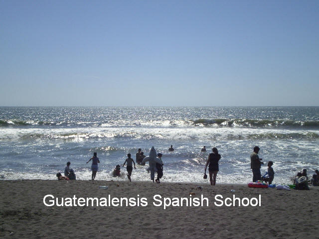 Black sand, waves, sun, fun, only with Guatemalensis Spanish School