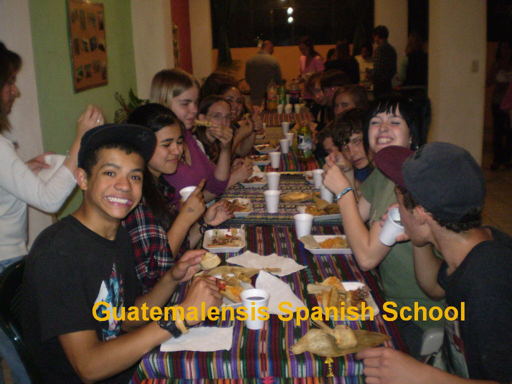 Dinner at Guatemalensis Spanish School with a group of high school students.