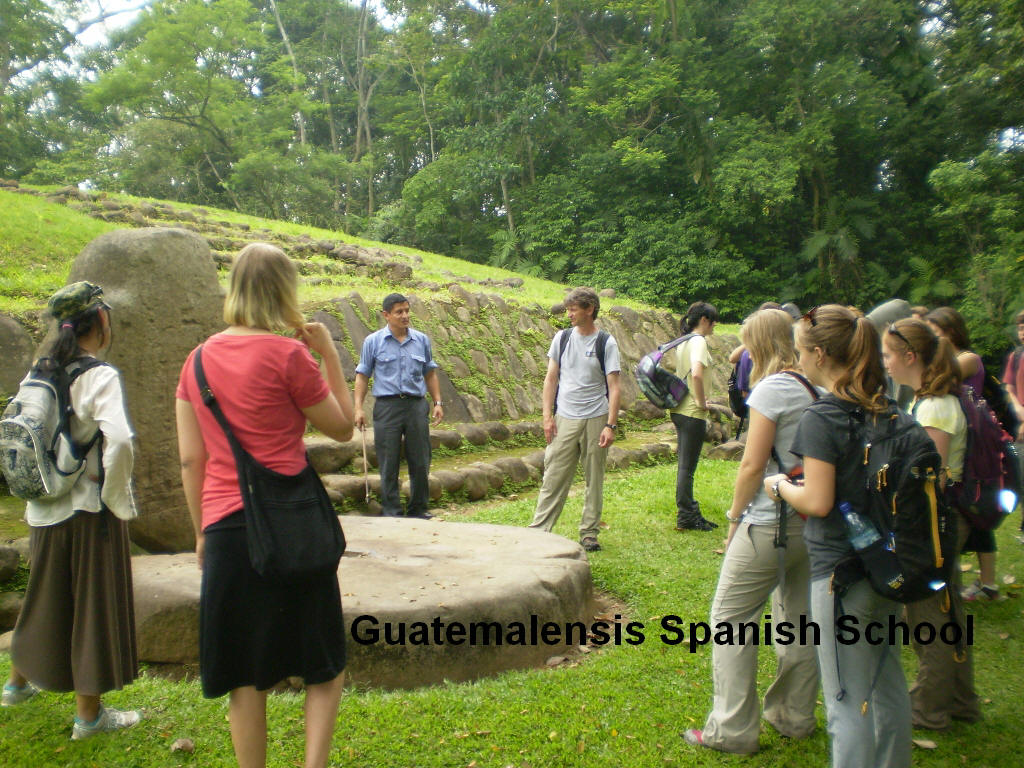 Guatemalensis Spanish School students learning about the mayan culture at the archaeological site of Takalik Abaj.