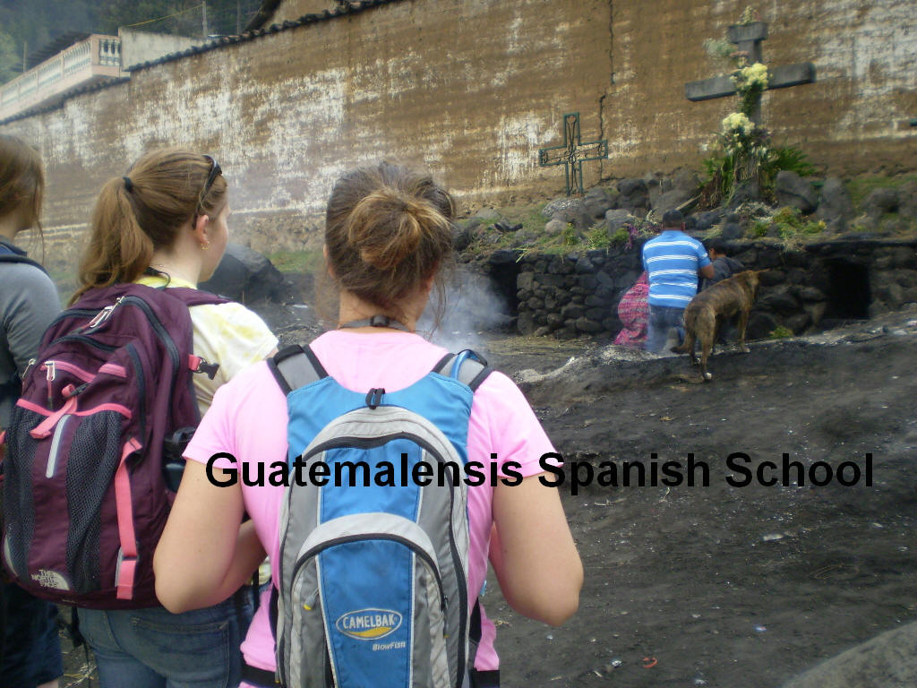 High school students knowing about the traditions and mayan ceremonies in the western highlands of Guatemala.