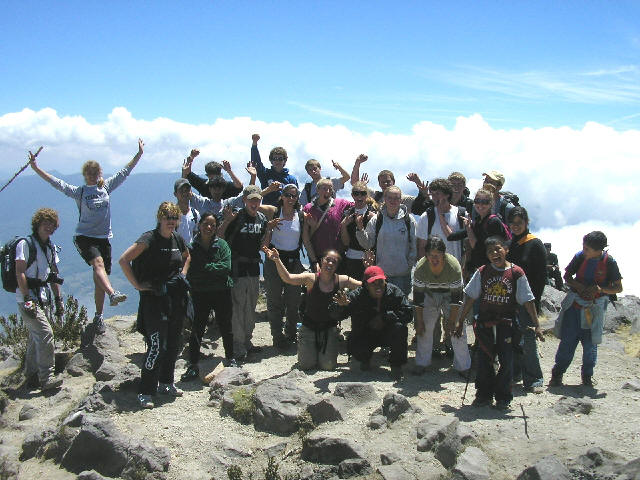 Other group of high school students at the summit of the Santa Maria Volcano.
