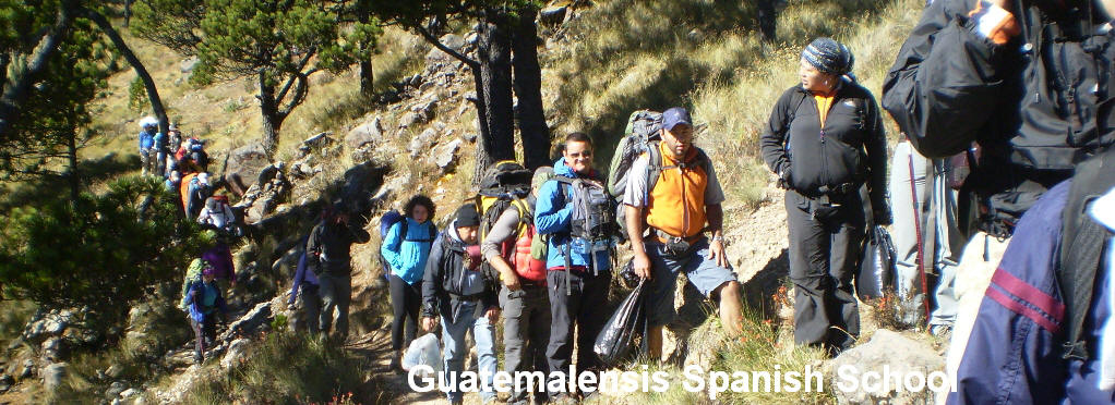 Many hikers climb the Tajumulco volcano