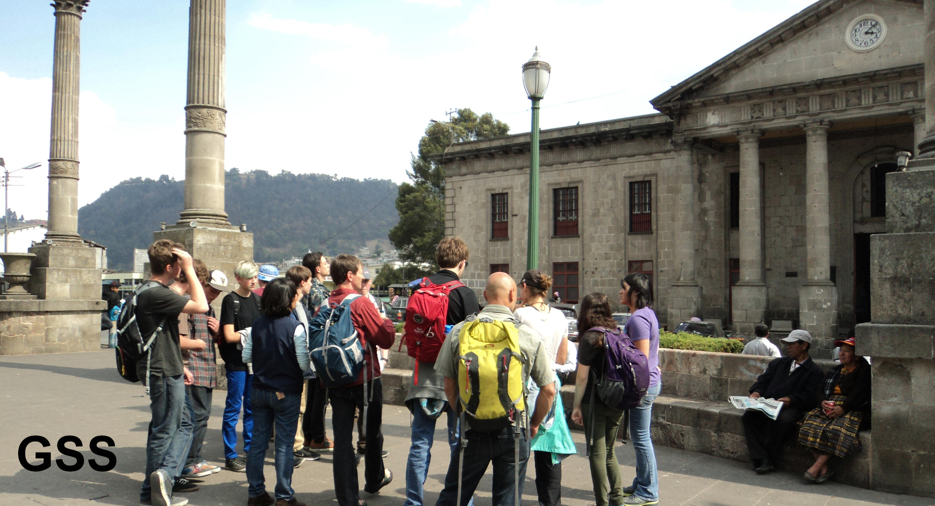 High school students learning about the history of Guatemala and Quetzaltenango.